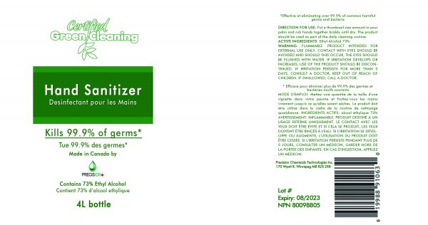 CGC Hand Sanitizer 4L Label